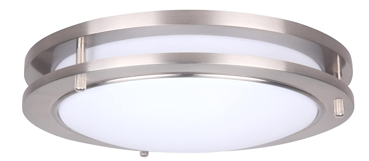 LIT-PaTH 10 Inch Dimmable LED Flush Mount Ceiling Lighting Fixture, 14W Replace 100W, 994 Lumen, Satin Nickel Finish, ETL and ES Qualified