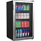 office beer cooler - hOmeLabs Beverage Refrigerator and Cooler - Mini Fridge with Glass Door for Soda Beer or Wine - 120 Cans Capacity - Small Drink Dispenser Machine for Office or Bar with Adjustable Removable Shelves
