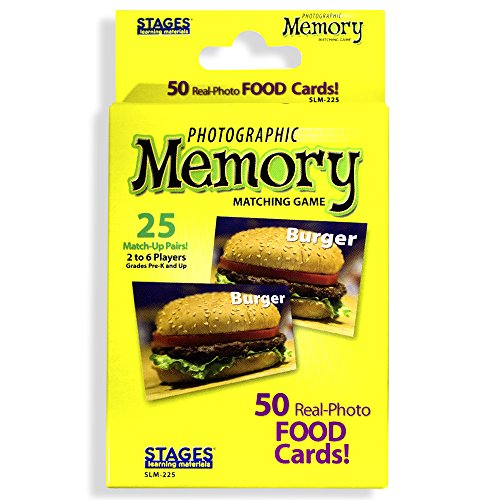 Stages Learning Materials Picture Memory Foods Card Real Photo Concentration Game, Yellow, Size 5 x 3