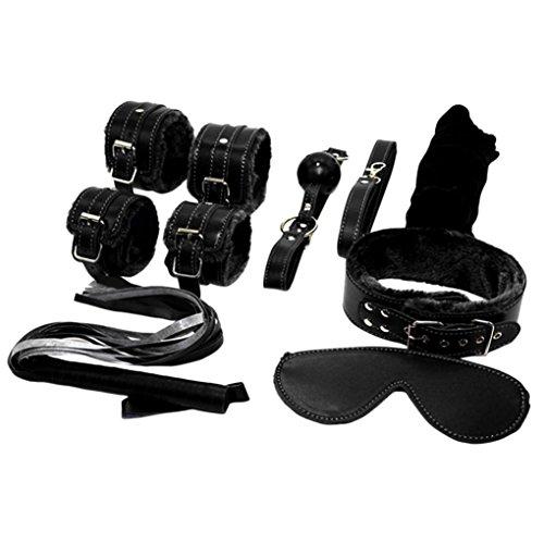 Hometom 7PCS/Set Adult Handcuffs Fantasy Toys Cosplay Bandage Fetish Restraint SM Use (Black)