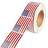 American Flag Sticker Roll - 1000-Count USA Flag Sticker Labels, Patriotic US Adhesive Decal, 3 x 2 inches