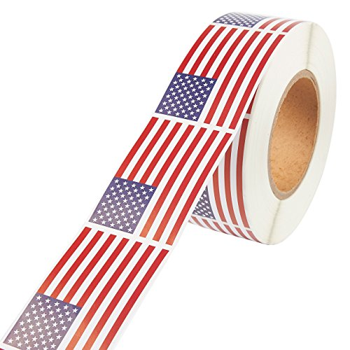 American Flag Sticker Roll - 1000-Count USA Flag Sticker Labels, Patriotic US Adhesive Decal, 3 x 2 -