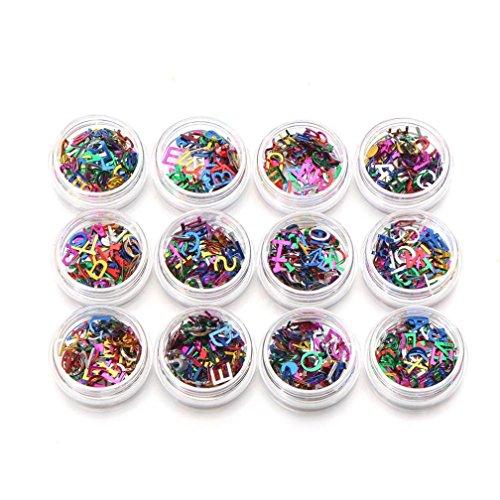 12 Color/Box 26 English Alphabets Nail Art Stickers DIY Nail Art Decorations