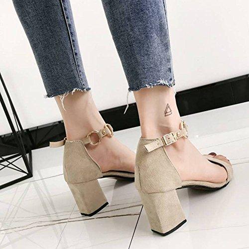 Zapatos Mujer Met Punta Sandalias de Gruesa Salvaje Abierta Moda Hebilla con EvvdqwUr