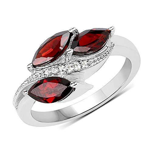 Genuine Marquise Garnet and White Topaz Ring in Sterling Silver - Size 8.00 (Topaz Marquise Ring)