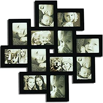 Wall Hanging Photo Frames Designs adeco pf0426 decorative black wood wall hanging picture photo frame with white mat Decenthome Wall Hanging Collage Frame 12 Openings Black