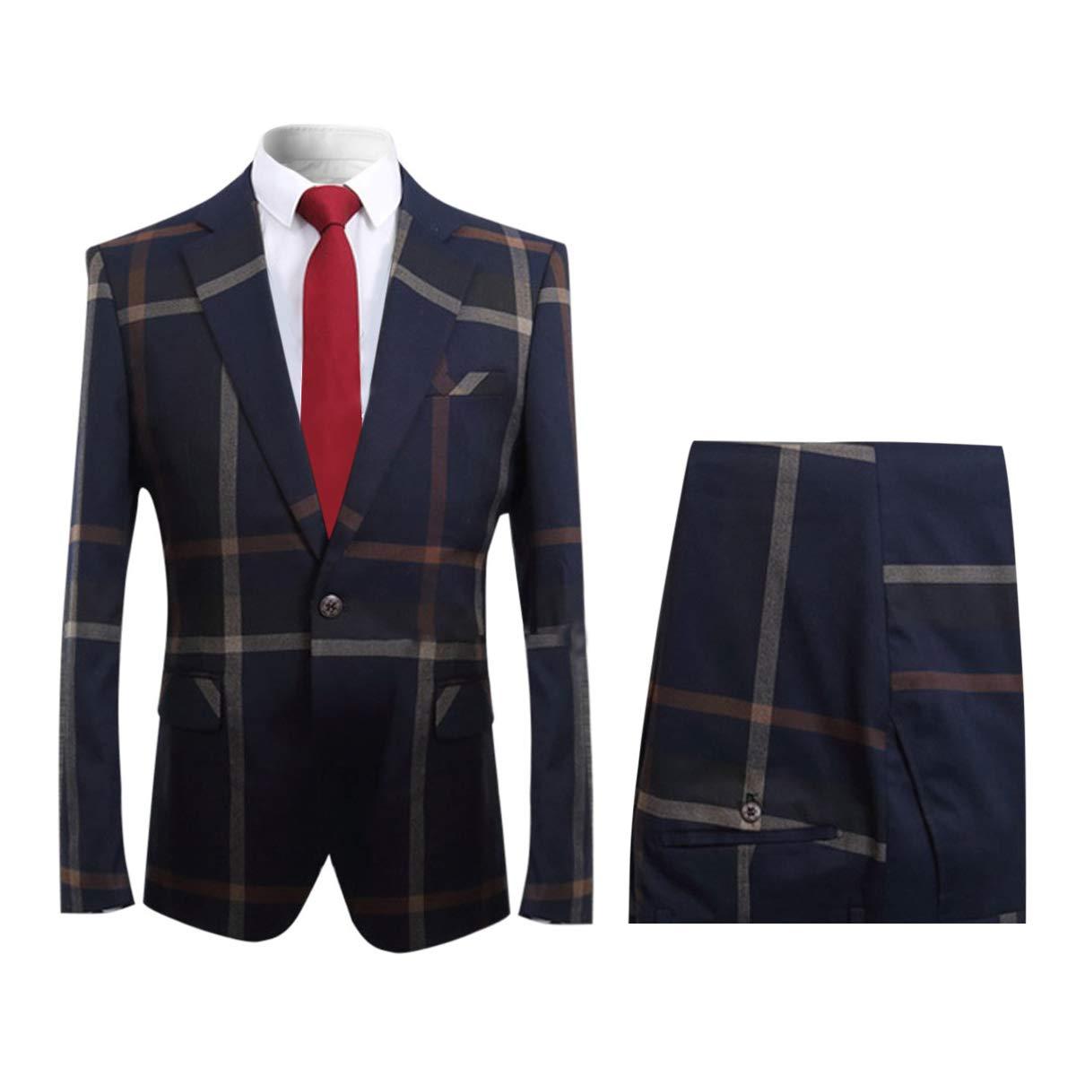 YFFUSHI Mens Plaid 2 Piece Suit Set Blazer Jacket Tux Suit Pants YFKL1B-02