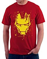 The Souled Store AVENGERS: IRON MAN Mask Superhero Graphic Printed RED Cotton T-shirt for Men Women and Girls