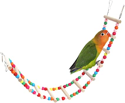 Bird Colorful Wooden Ladder Parrot Macaw Bell Swing Parrot Bites Climb Toy XS