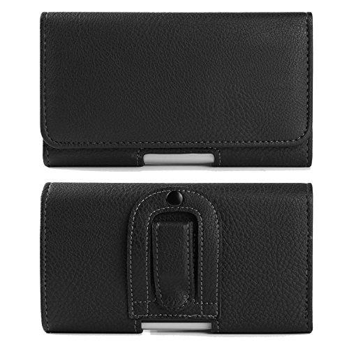 Black Executive Belt Clip Case PU Leather Texture Horizontal Holster for BLU Vivo One / Studio J8M / Dash L5 / Grand M2 / C5 / S1 / Blackberry (Grande Executive Leather)