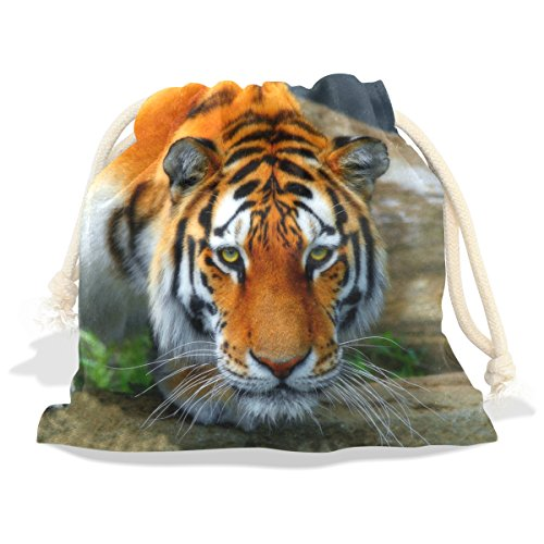 Tiger Pattern Print Velvet Drawstring Gift Bag Wrap Present Pouches Favor for Jewelry, Coin, Holiday, Birthday, Party, 8X12.6 Inches