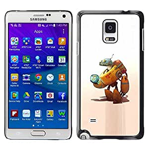 A-type Colorful Printed Hard Protective Back Case Cover Shell Skin for Samsung Galaxy Note 4 IV / SM-N910F / SM-N910K / SM-N910C / SM-N910W8 / SM-N910U / SM-N910G ( Robot Alien Cat Space Ship Fish Bowl Art )