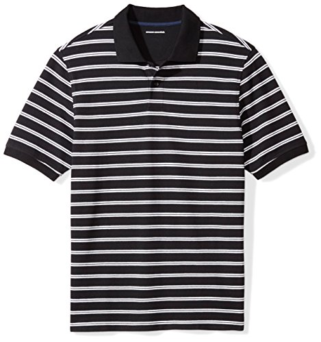 - Amazon Essentials Men's Regular-Fit Cotton Pique Polo Shirt, Black Stripe, X-Large