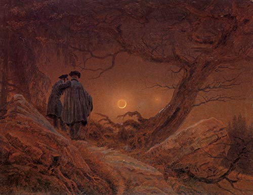 Home Comforts Friedrich, Caspar David - Two Men contemplating The Moon [2] Vivid Imagery Laminated Poster Print 11 x 17
