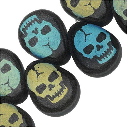 Czech Glass, Flat Pear Teardrop Beads with Laser Etched Skull Design 11x7.5mm, 30 Pieces, Jet Matte (Teardrop Laser Bead)