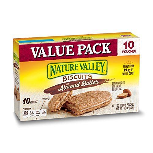 Nature Valley Biscuits, Almond Butter, Breakfast Biscuits with Nut Filling, Value Pack, 10 Pouches, 1.35 oz (Pack of ()