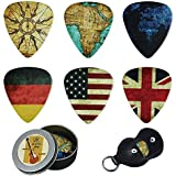 Guitar Picks - Cheliz 12 Medium Gauge Celluloid Guitar Picks In a Box W/Picks Holder. Unique Guitar Gift For Bass, Electric & Acoustic Guitars (Flag and Map)