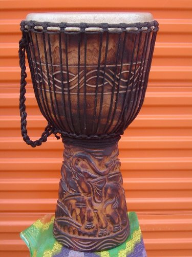 Large 26'' X 15'' Djembe Deep Carved Hand Drum ELEPHANTS - Model #65m4 by madedrums