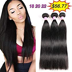 Aliballad 8A Brazilian Straight Hair 3 Bundles Virgin Unprocessed Human Hair Extensions Straight Weave Brazilian Hair Bundles Straight Human Hair Weave Weft 300g Natural Black Color 18 20 22 Inches