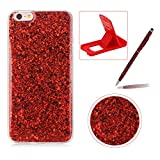 Glitter Case for iPhone 8 Plus,Rubber Cover for iPhone 7 Plus,Herzzer Ultra Thin Slim Luxury Pretty [Red Sequins] Sparkle Diamond Soft Gel Silicone Clear Bumper Back Cover