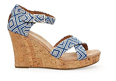 TOMS Womens Strappy Wedge Canvas Cork
