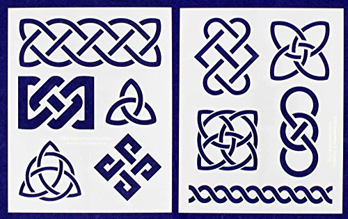 Celtic Knot Stencils 8'' X 10'' Mylar 2 Pieces of 14 Mil - Painting /Crafts/ Templates by TCR Templates