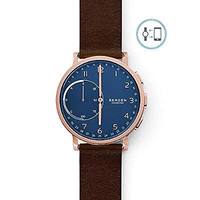 Skagen Connected Men's Hagen Stainless Steel and Leather Hybrid Smartwatch, Color: Rose Gold-Tone, Dark Brown (Model: SKT1103) from Skagen Watches
