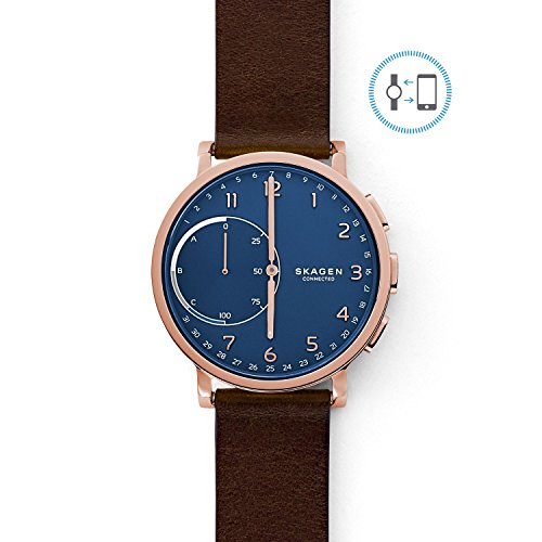 Skagen Connected Men's Hagen Stainless Steel and Leather Hybrid Smartwatch, Color: Rose Gold-Tone, Dark Brown (Model: SKT1103) ()