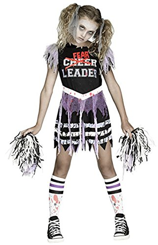 Fun World Girls Zombie Fearleader Costume, Multicolor, Medium 8-10