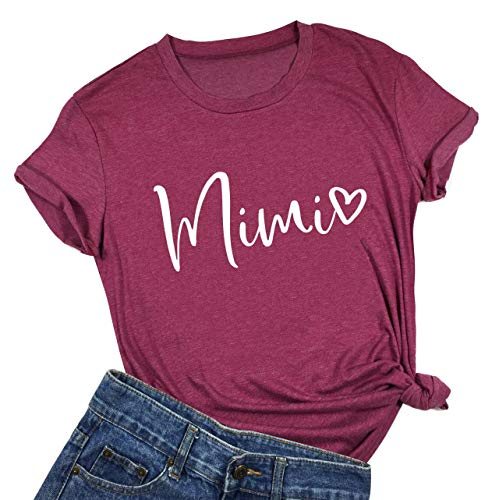 (Mimi Heart Graphic Cute Grandma T Shirt Wome Letter Print Short Sleeve Tees Casual Mimi Gift Tops Tee (Medium,)