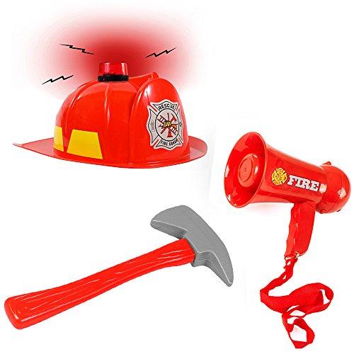 Tigerdoe Fireman Costume Accessories - 3 Pc Set - Fireman Hat, Microphone and Axe - Fireman Toys - Role Play Kids Dress up