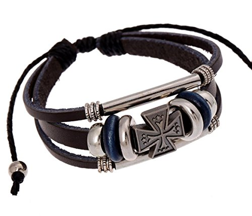Most Beloved Black Leather and Beads Cross Charm Adjustable Bracelet with Metal Woven