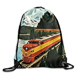 Teen Young Girls & Boys Train In The Mountians Leather Reinforced Corners Removable Waterproof Draw Cord Shopping Teamsport Formation Knapsack Gymbag Gym Drawstring Bags Sackpack Gift