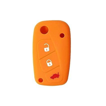 Cubierta de Silicona para Llave con Control Remoto Fiat Grande Punto Panda Bravo Stilo Ducato Ulysse Doblò, Idea para Regalo, Llavero (Naranja)