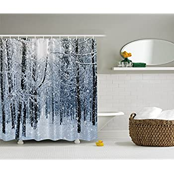 Amazon.com: Ambesonne Forest Shower Curtain by, Winter Snow on Trees ...