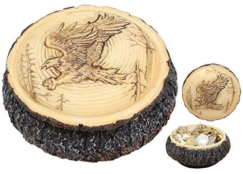 Ebros Rustic Nature Wildlife Faux Wood Swooping American Bald Eagle Round Decorative Trinket Jewelry Box Figurine 4
