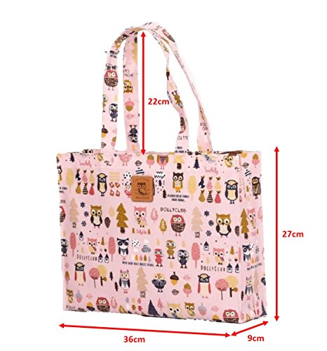 Tote Bag Gusset with Tote Bag Oilcloth Pink Shopping Bookbag Owl Bag Music qTHFwwx