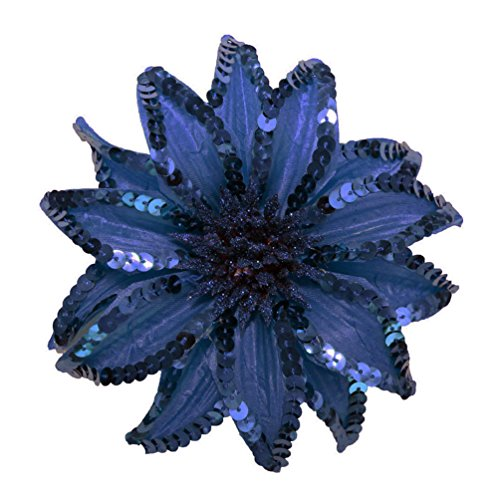 [WD2U Girl XL Sequin Flower Hair Bows Alligator Clip Brooch Pin Navy Blue 1066] (Holiday Recital Costumes)