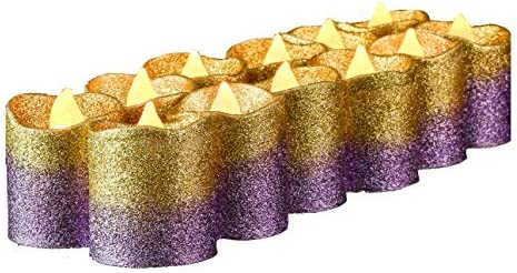 Flameless Votive Candles,LED Votive Tea Lights Candles,Gold Purple Glitter Votive Candles Bulk for Wedding Outdoor Bar Restaurant Party Home Birthday