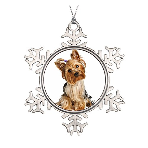 Yorkshire Terrier Puppy Ceramic Round Christmas Ornament (Ornaments Holiday Scottish)
