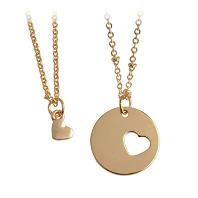 daa02a0bd Amazon.com: Mother daughter necklace set of two heart charm cut out  necklace: Jewelry