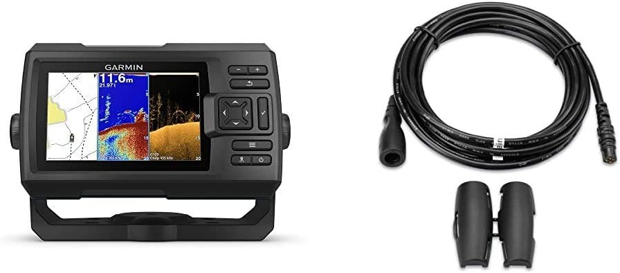 "Garmin Striker Plus 5cv with Transducer, 5"" GPS Fishfinder & 010-11617-10, 10' Transducer Extension Cable for The Echo Series"