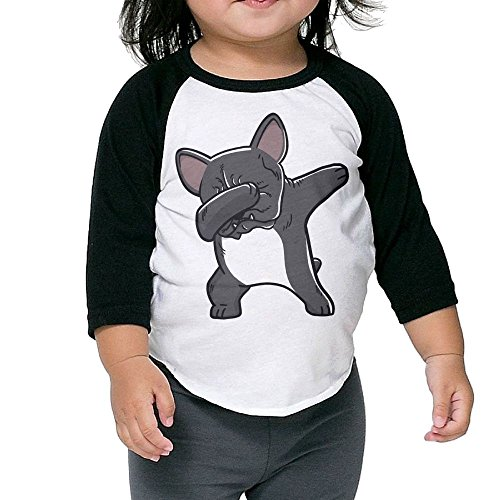 - SH-rong Funny Dabbing French Bulldog Kids Baseball Tee Size5-6 Toddler