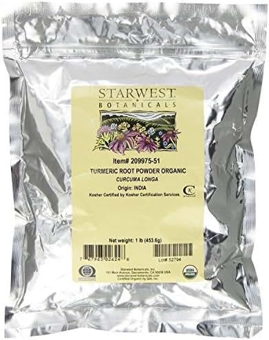 Starwest Botanicals Organic Turmeric Root Powder, 1 Pound Bulk