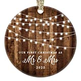 """First Christmas as Mr & Mrs Ornament 2020 Rustic 1st Year Married Newlyweds 3"""" Flat Circle Porcelain Ceramic Ornament w Glossy Glaze, Gold Ribbon & Free Gift Box 