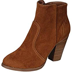 Breckelle's Women's HEATHER-34 Faux Suede Chunky Heel Ankle Booties Tan 8