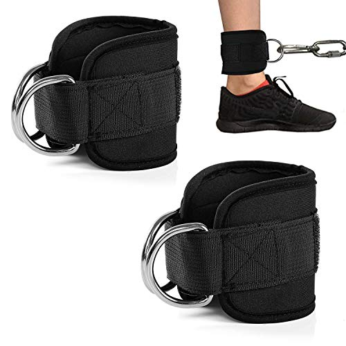 GLE2016 2PCS Ankle Straps for Cable Machines Weightlifting Gym Workout Fitness Double D-Ring Neoprene Padded Ankle Cuffs…