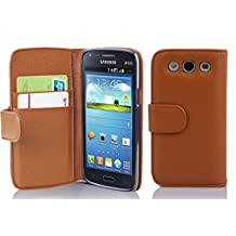 Cadorabo - Book Style Wallet Design for Samsung Galaxy CORE (I8260) with 2 Card Slots and Money Pouch - Etui Case Cover Protection in SADDLE-BROWN
