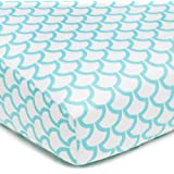 American Baby Company 100-Percent Cotton Percale Fitted Crib Sheet, Aqua Sea Waves