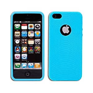 Blue Grooved Grip Soft Gel Skin Apple iPhone 5 Cover Case
